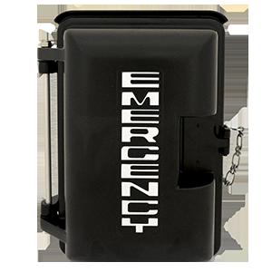 Cast Aluminum Weatherproof Enclosure with EMERGENCY on Door Black 331-005-B-EMER