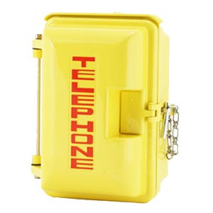 Cast Aluminum Weatherproof Enclosure with TELEPHONE on Door Yellow 331-005-Y-TEL