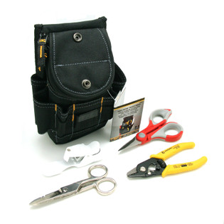 Fiber Optic Starter Tool Kit Stripper Scissor Pouch and Cleaver