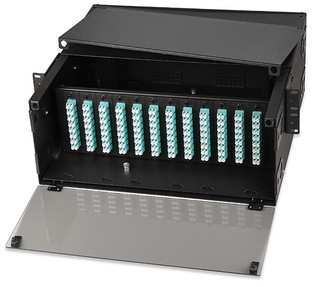 72 to 288 Fiber Rack Mount Enclosure Takes 12 Panels 8 Tray