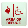 "Area of Refuge Photo Luminescent Wall Sign 8"" x 8"" RSN7041"
