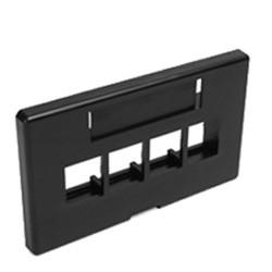 Leviton Black Quickport 4-Port Cubicle Data Plate 49910-HE4