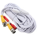 50' CCTV Video and Power Cable BNC 2.1mm White