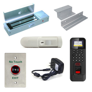 Biometric Access Control Kit Reader Magnetic Lock RTE Motion Sensor In Swing Door