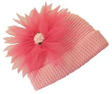 Flowery Pink Crochet Baby Hat