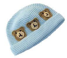 Bears and Blue Crochet Baby Hat