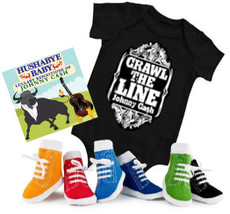 Johnny Cash Crawl the Line Onesie Gift Set with Socks and CD