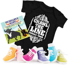 Johnny Cash Crawl the Line Onesie Gift set with Socks and Lullaby CD