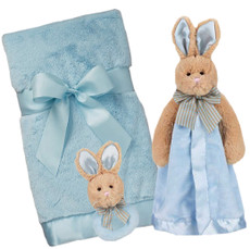 Blue Bunny Tail 3 Piece Baby Gift Set