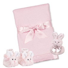 Cottontail Booties, Blanket and Rattle Gift Set