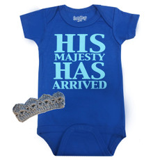 His Majesty Has Arrived Baby Onesie and Crown Gift Set