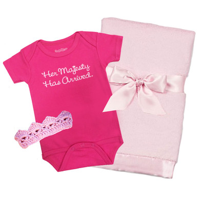 Her Majesty Onesie, Crown and Blanket Baby Gift Set