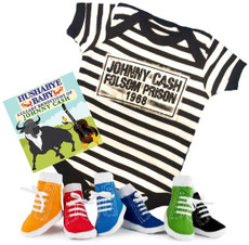Johnny Cash Folsom Prison Baby Onesie Lullaby CD and Boys Socks Baby Gift Set
