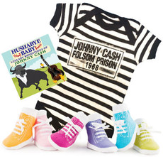 Johnny Cash Folsom Prison Baby Onesie Lullaby CD and Girls Socks Baby Gift Set