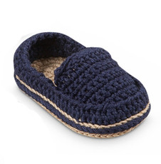 Navy Hand Crocheted Baby Loafers