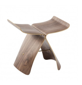 The joined wings of  this reproduction of Sori Yanagi's Butterfly Stool are executed using mid century plywood molding techniques. This graceful stool marries ancient Japanese forms with modern Western materials. First designed and manufactured in 1954, an original Yanagi resides in the Museum of Modern Art and Metropolitan Museum of Art, and other fine museums worldwide. Shipped assembled.