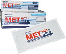 Met Cold Hot & Cold Pack Standard sized Hot & Cold Pack. Re-usable hot and cold pack. The elastic gel is non-toxic and biodegradable.  Sizing: 27.5 x 135.cm