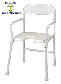 Aluminium Folding Adjustable Height Aluminium Shower Stool, comes with plastic seat with cutaway front for personal cleaning.