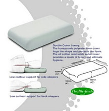 This Dentons Low Profile Pillow should best suit smaller framed people who sleep on their side, or most people who sleep on their back.