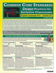 Common Core Standards: Unique Practices for Inclusive Classrooms, English Language Arts