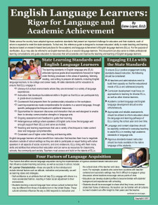 English Language Learners: Rigor for Language and Academic Achievement