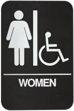 DON-JO HS-9060-05 Women's / Handicap ADA Sign Brown