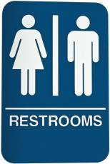 DON-JO HS-9070-03 Rest Room Sign Blue