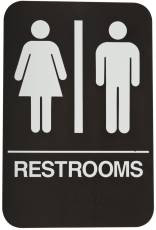 DON-JO HS-9060-03 Rest Room Sign Brown