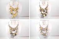 Nautical Pearl, Starfish, and Shells Necklace and Earring Set
