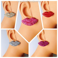 Crystal Lips Stud Earrings