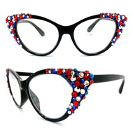 Crystal Cateye Reading Glasses: Red, White, and Blue!