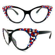 Crystal Cateye Reading Glasses-Red White and Blue