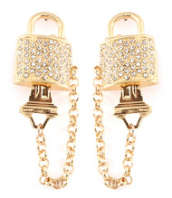 Crystal Lock and Key Earring