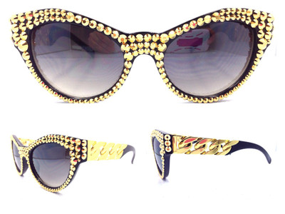 24K on Black Frame -Crystal Cateye Chain Linked Sunglasses