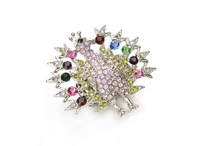 Pink Crystal Peacock Ring