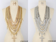 Lavishly Layered Cross Necklace