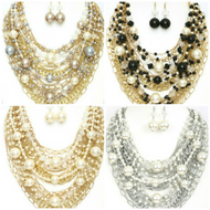 Chain and Pearl Mixed Necklace Set