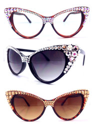 Crystal Cateye  Glasses- Half