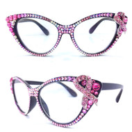 CRYSTAL Cateye Reading Glasses - Pink Ribbon