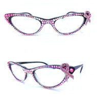 Vixen Cateye Reading Glasses- Pink Ribbon