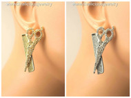 Crystal Scissor and Comb Stylist Stud Earrings