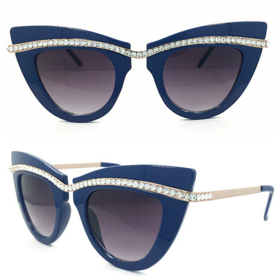 Blue frame with Clear crystals