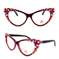 Optical Crystal Cateye Apex Reading Glasses Pearl