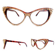 Optical CRYSTAL Cat Eye Glasses - Gold on Brown Frame