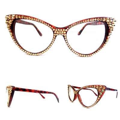 optical crystal cat eye glasses gold on brown frame
