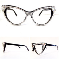CRYSTAL Cat Eye Glasses - Clear on Black Frame