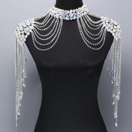 Aurore Borealis Austrian Crystal Double Shoulder Necklace