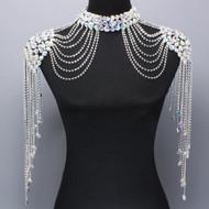 Aurore Borealis Austrian Crystal Double Shoulder Necklace
