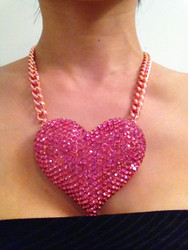Oversized Crystal Heart Necklace-Pink