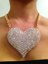 Oversized Crystal Heart Necklace-Clear Gold